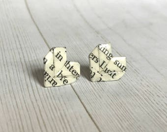 Literary Origami Heart Post Earrings