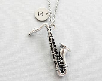 Saxophone Necklace, Sax, Wind Instrument, Jazz, Band,Music, BFF, Friend Gift, Silver Initial, Personalized, Monogram, Hand Stamped Letter