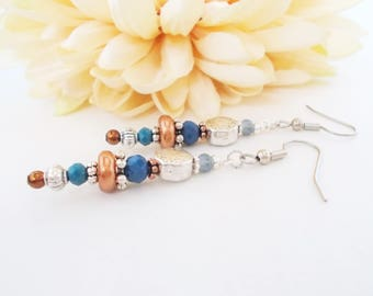 Boho Earrings Silver, Cobalt Earrings Blue Beaded Dangle Earrings Handmade, Bohemian Earrings Gift for Sister, Coworker Gift, Hippie Earring