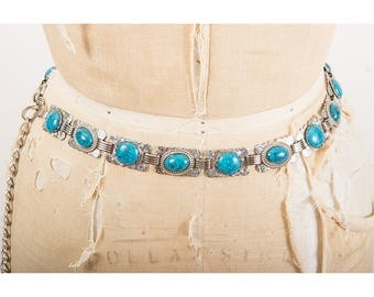 Vintage faux turquoise and silver hip belt belt / Faux silver concho south western style belt S M