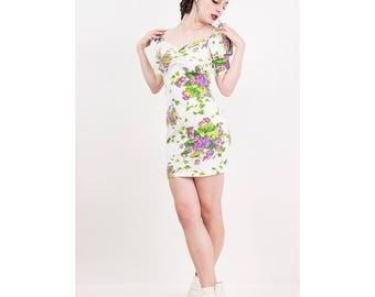 Vintage Betsey Johnson / 1980s Punk label cotton spandex mini bodycon dress puff sleeve / Violet floral print / S