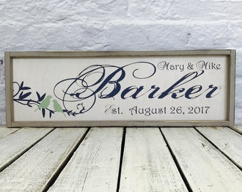 last name sign,  wedding gift, family name sign, established sign, personalized sign, anniversary gift, name sign, wood sign, housewarming