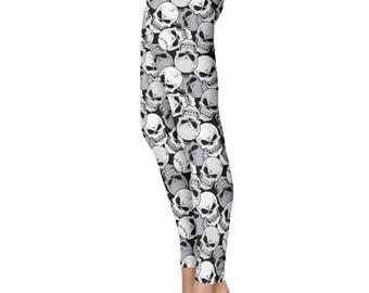 Skull Leggings, Capris or Yoga Pants • Black • You Can Request Custom Color