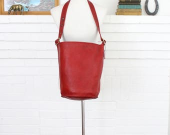 Vintage Coach Duffle Bag New York City Red RARE // Bucket Bag Feed Sac Pre 9085 NYC