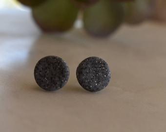 Granite polymer clay earrings, 12mm studs, hypoallergenic,  handmade in Australia, gift idea