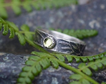 Peridot silver ring, rustic branch peridot sterling ring, August birthstone