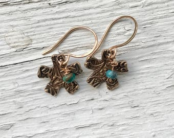 Textured bronze and turquoise drop earrings