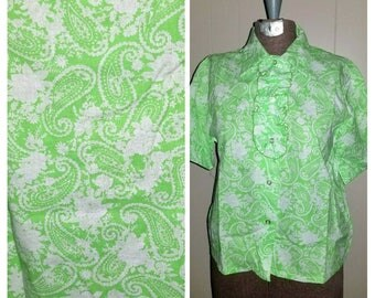 Proper Patsy ..... Vintage 60s blouse / novelty button up down / removable ruffled ascot / lime green / mid century ... S M bust 38
