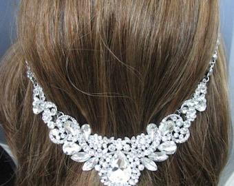Silver Tone hair Floating Illusion jewelry Earring Set Wedding Jewelry  Necklace Rhinestone Necklace chunky necklace Bridal Necklace