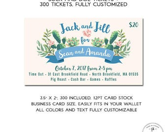 Stag and Doe Tickets, Boho Theme, Succulents, Botanical, Modern Buck and Doe Tickets, Fully Customized, personalized and shipped