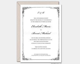 Elizabeth Custom Wedding Invitation, 5x7 JPEG Digital File, You Print
