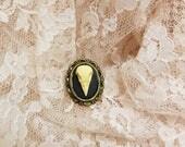 Antique Bronze Bird Skull Ring