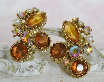 Vintage Clip-On Earrings with Amber Brown Stones AB Rhinestones and Faux Pearls