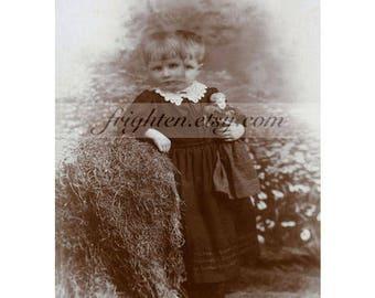 Halloween Wall Art, Oddities, Spooky Decor, Creepy 8.5 x 11 Inch Print, Haunting Art Print, Two Headed Victorian Girl with Doll