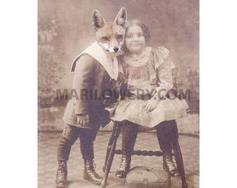 Fox Art 5x7 Inch Print, Animal in Clothes, Romantic Couple, Fox in Clothes, Mixed Media Collage Art, Valentine's Day