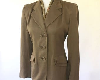 1940s Womens Brown Suit Set Jacket Skirt Scarf Size Small