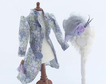 MINIATURE DOLLHOUSE 1/12 Scale Ladies Hand  Printed Cotton Jacket and Matching Silk Hat