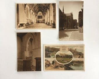 Arundel - 4 antique postcards - sepia photography - Church St.Philip Neri - Castle - Fitzalan Chapel - England - Free shipping Canada USA