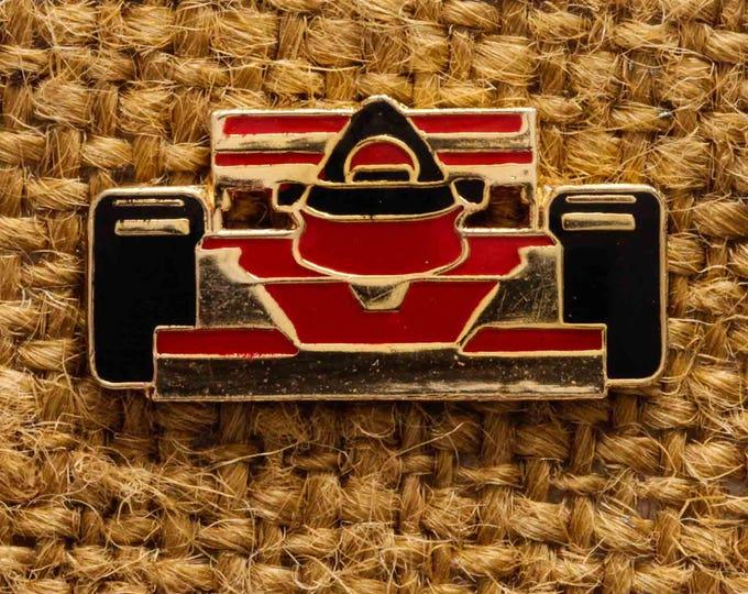 Red Race Car Lapel Pin Button Vintage Gold Pin-Back Button Vtg Pin 7S