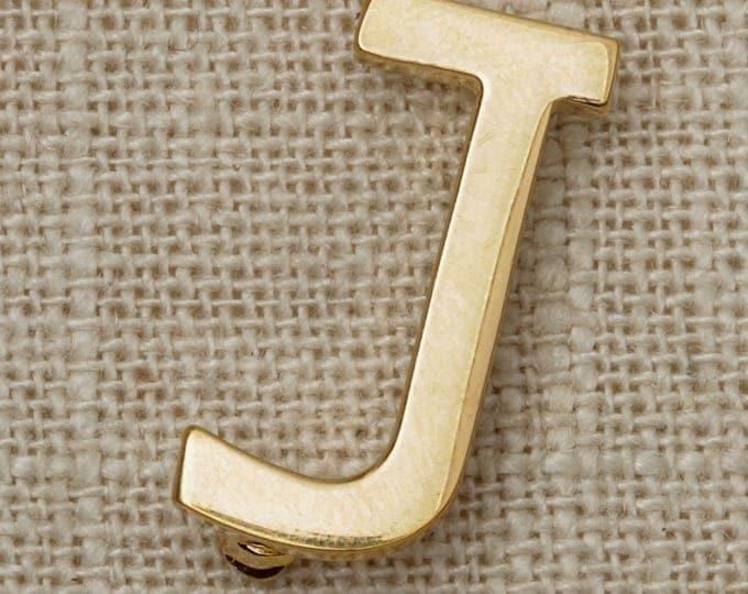 """Monet Letter J Brooch Vintage Gold Initial """"J"""" Broach Vtg Pin 7T"""