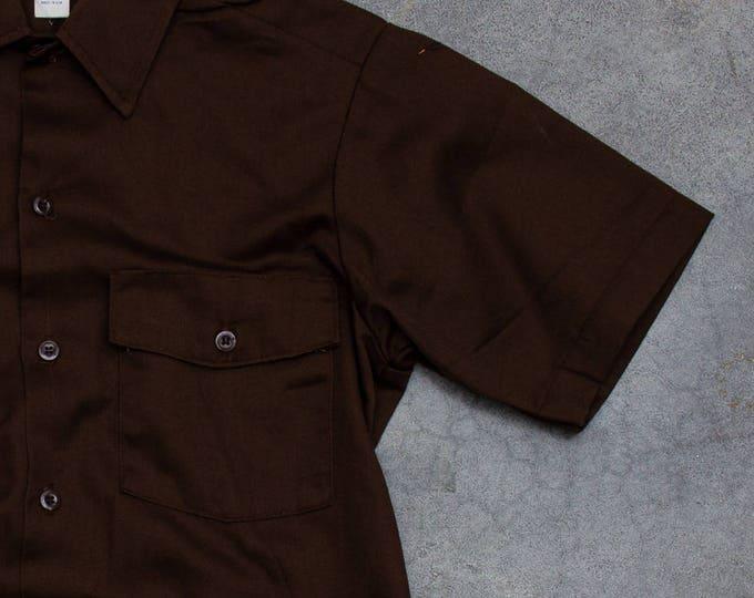Brown Dickies Uniform Men's Shirt Vintage Size Medium Button Down Top Work Wear Hipster Mens 7W