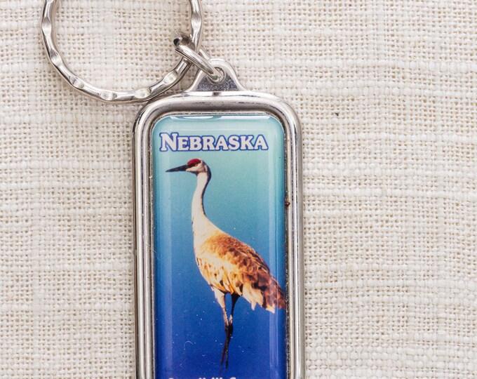 Nebraska Sandhill Crane Vintage Keychain Made in New Zealand Bird Silver Toned Key FOB Brass Key Chain 7KC