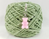 Pink Gummy Bear Lobster Clasp Stitch Marker, Progress Keeper, Zipper Pull, Stitch Keeper, Dangle Charm