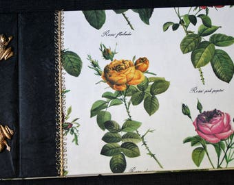 floral frog roses guest book photo ablum shetch journal blank post bound mulberry paper black red gold garden paper