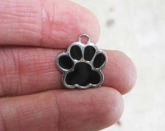 5 Black and Silver Enamel Paw Charms - C2595
