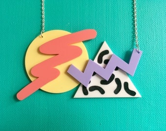 Laser Cut 80's Inspired Geometric Pastel 18 Inch Acrylic Necklace 80s 90s Mountain Sunset Abstract Necklace