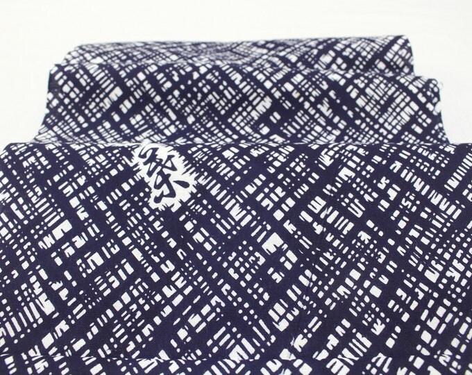 Japanese Vintage Yukata Cotton. Traditional Hand Dyed Fabric. Blue White Kanji Abstract (Ref: 1809)