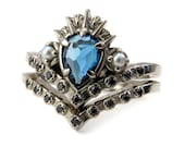Sea Witch Engagement Ring Set - London Blue Topaz Pear with Seed Pearls and Black Diamonds - Ursula