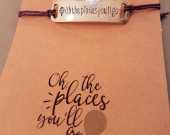 Oh The Places You'll go Bracelet: Travel Bracelet, Graduation, Friendship Bracelet, Best Friend, Places You'll Go