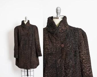 Vintage 1950s Fur Coat - Silver Persian Lamb Jacket 50s 60s - Small / Medium