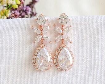 Rose Gold Bridal Earrings, Crystal Wedding Earrings, Leaf Clover Dangle Drop Earrings, Teardrop Earrings, Bridal Jewelry, Bridesmaid, MAGGIE