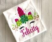 St. Patrick's Day Unicorn Embroidery Shirt