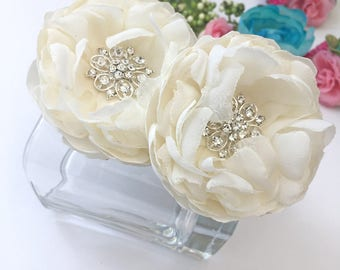 Ivory Hair Flower, Shoe Clips, Brooch Pin - Satin Chiffon Flowers for a Bride, Bridesmaid Gift,  Wedding, Special Occasion - Ana