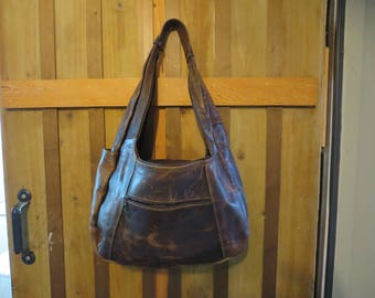 Brown Leather Slouchy Hobo Bag - Patchwork Hobo made in Mexico