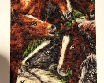 Realistic Horse Ribbon, Brown, Black, White, Tan Horses, 2 YARDS, 2.5 in. wide, Horses, Animals, Stallions, Mares, Wreath Ribbon, Wild Horse