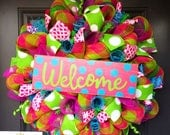 Spring wreath, summer wreath, wreath, deco mesh wreath, welcome wreath, pool party decor, door wreath, front door wreath, burlap wreath