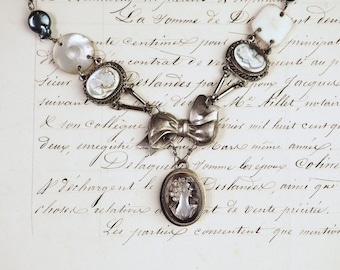 The Three Graces- Vintage Cameo Assemblage Necklace- Baroque Pearls- Sterling Silver- Antique refashioned jewelry- One of a Kind-hand carved