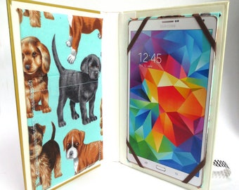 Dogs, dogs dogs tablet case made from book about Retrievers, doggy cotton print inside, fits iPad Mini, 8 inch Kindle, Nook HD Plus, more