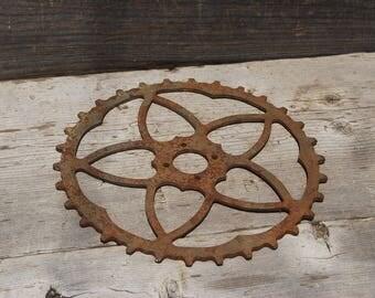 Summer Sale - Antique Oversize Skiptooth Sprocket, Skiptooth Bicycle Sprocket