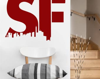 SF San Francisco Wall DECAL- San Francisco urban city interior design, sticker art, room, home and business decor