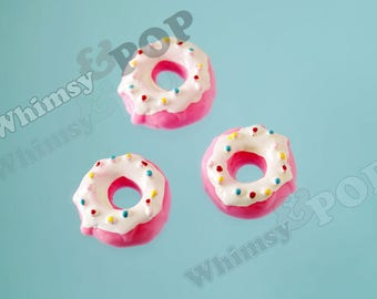 5 - Kawaii White Icing Sprinkles Doughnut Donut Decoden Resin Flatback Cabochons, Donut Cabochons, 22mm (R10-019)
