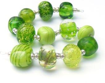 Handmade lampwork glass bead set of 12 lime green renegade beads - lampwork orphan beads