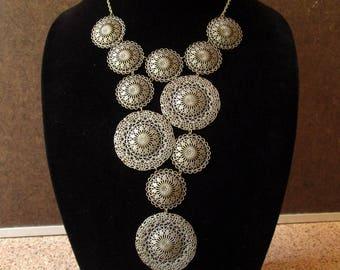 Statement bib necklace, antique brass tone filigree bib necklace