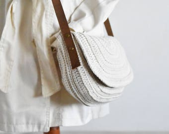 Small white crossbody bag crochet saddle purse genuine leather straps everyday bag cotton purse half moon messenger bag woman shoulder purse