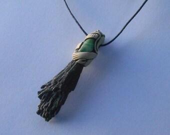 Black Kyanite Pendant & Obsidian / EVOLUTION CRYSTAL / black Kyanite / jewelry / tribal / minimalist / striking  / pendant / khayanite / zen