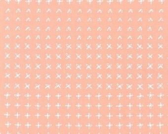 Blueberry Park Sprouting Row in Ice Peach, Karen Lewis Textiles, Robert Kaufman Fabrics, 100% Cotton Fabric, AWI-15752-362 ICE PEACH